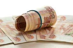 Plié cinq factures de millièmes rouble Photos libres de droits