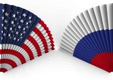 Pliage de fan de l'Amérique et de la Russie Images stock