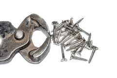 Plier and nails Stock Photo