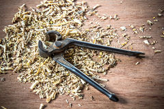 Plier old tool Royalty Free Stock Photo