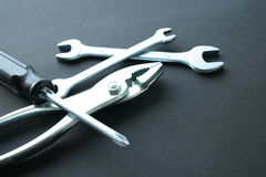 Plier, scrow & wrenches. Tools stock photo
