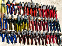 Plier Shop. Colorful pliers for sale in an industrial shop Stock Photo