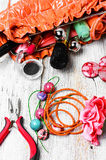 Pliers,beads, and womens accessories Stock Images