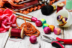 Pliers,beads, and womens accessories Royalty Free Stock Images