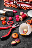 Pliers,beads, and womens accessories Stock Photo