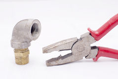 The pliers and bend of duct Royalty Free Stock Photo