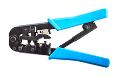 Pliers Blue LAN cable Royalty Free Stock Photo