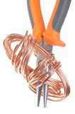 Pliers with copper wire Stock Photography
