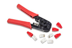 Pliers, crimpers twisted pair and connectors. Stock Photo