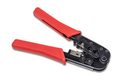 Pliers, crimpers twisted pair. Royalty Free Stock Images