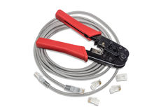 Pliers, crimpers twisted pair, patch cord and connectors. Stock Image