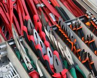 Pliers and cutters for sale in hardware store Stock Photos