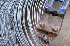 Pliers cutting rebar and thick galvanised aluminium iron metal w Royalty Free Stock Photos