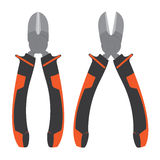 Pliers. Diagonal Cutting Pliers. Pliers with orange and black  on white background. Stock Photo