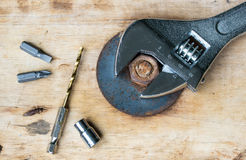 Pliers Drill, screwdriver and nut Royalty Free Stock Photo