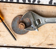 Pliers Drill, screwdriver and nut Stock Image
