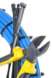 Pliers with electrical cables Stock Photo