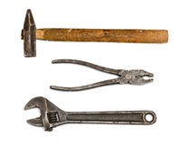 Pliers, hammer and adjustable spanner Royalty Free Stock Photo