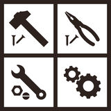 Pliers, hammer, wrench and gears icons stock illustration