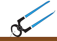 Pliers and nail. Illustration of pilers, pulling a nail out of the board on a white background vector illustration