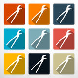 Pliers - Pincers Flat Design Icons Set. On White Background Stock Photos