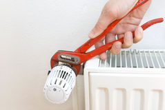 Pliers radiator plumber royalty free stock photos