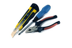 Pliers, screw driver, cutter Royalty Free Stock Image