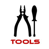 Pliers and screwdriver black silhouettes Stock Image