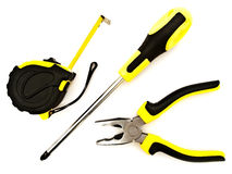 Pliers, screwdriver and meter stock photography