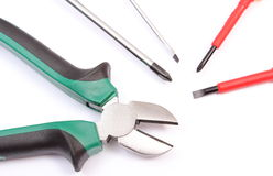 Pliers and screwdrivers isolated on white background Royalty Free Stock Photos