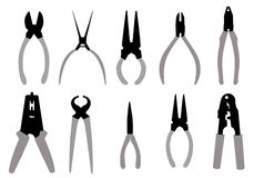 Pliers Tools silhouette set -vector Stock Photography