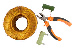 Pliers and Voltage toroidal transformer Stock Photos