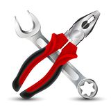 Pliers and Wrench Icon. Vector illustration stock photos