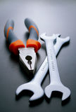 Pliers and Wrenches Hand Tools on Gray Background Stock Photography