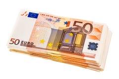 Plik euro banknoty odizolowywający Obraz Royalty Free
