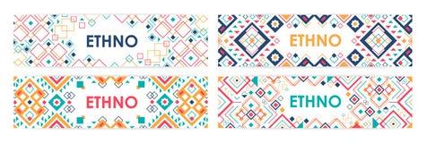 Plik horyzontalni sieć sztandary dekorował z tradycyjnymi Amerykańsko-indiański ornamentami wewnątrz lub modnymi geometrycznymi w royalty ilustracja