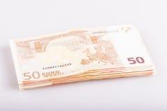 Plik pięćdziesiąt euro banknotów Obrazy Royalty Free
