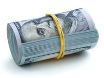 Plik pieniądze wiązał z gumowym zespołem Zdjęcie Stock