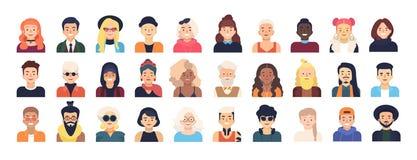 Plik postać z kreskówki lub avatars męscy i żeńscy ubierał w modnych ubraniach i z różnymi fryzurami ilustracja wektor