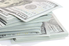 Plik sto dolarów banknotów Zdjęcie Stock