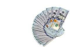 Plik sto dolarowych rachunków rozkładających jak fan Na biały tle bill tła dolara Amerykańscy dolary gotówka zdjęcie royalty free