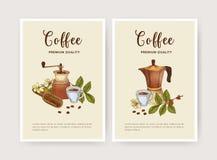 Plik ulotka, szablon z filiżanka kawy, moka garnek, miarka i ostrzarz, plakata lub karty, Smakowity aromatyczny napój ilustracji