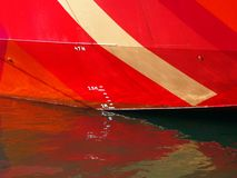 Plimsoll Line on Red Ship Royalty Free Stock Photo