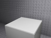 Plinth with metal sheet background Royalty Free Stock Photo