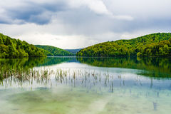 Plitivice lake on cloudy day Royalty Free Stock Photography