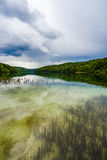 Plitivice lake with storm clouds approaching Royalty Free Stock Images