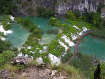 Plitvice湖和瀑布在克罗地亚 免版税图库摄影