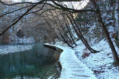 Plitvice雪湖 库存照片