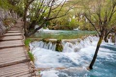 Plitvice, водопады, туристский путь Стоковые Изображения RF