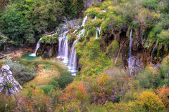 Plitvice autumn falls Stock Images